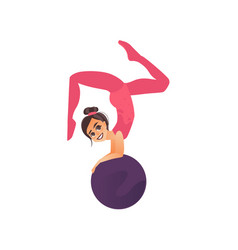 gymnast acrobat girl doing handstand on big ball vector image