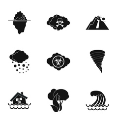 Natural disasters icons set simple style vector