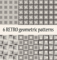 6 Retro Geometric Seamless Patterns vector image