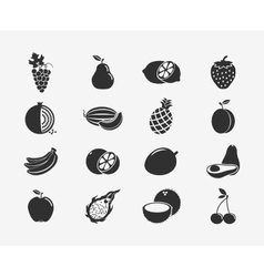 Fruit silhouettes icons vector image vector image