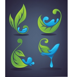 green leaves and water drops vector image vector image