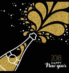 happy new year 2018 gold glitter bottle splash vector image