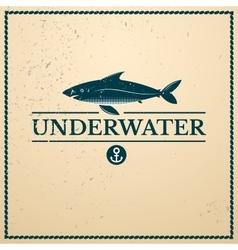 Label underwater fish vector image