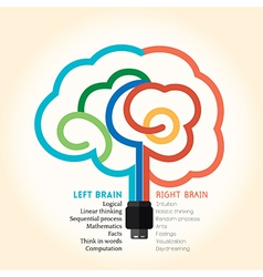 Left right brain function creative concept vector image vector image