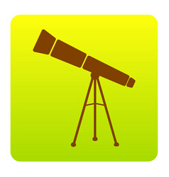 telescope simple sign brown icon at green vector image