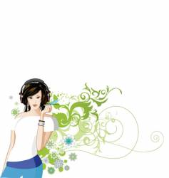 women is listening to music vector image vector image