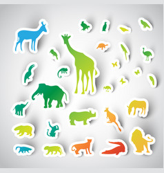 zoo sticker animals collection vector image