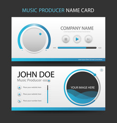 blue music producer business card with ui design vector image