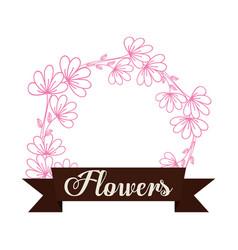 flowers decoration spring label vector image