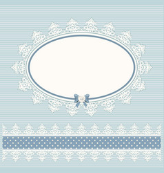 Oval doily frame with lacy border country style vector