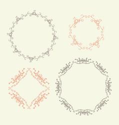 set decorative vignettes with hearts vector image
