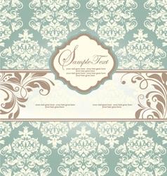 vintage blue damask invitation with floral element vector image