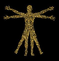 Vitruvian man the concept of gold confetti based vector