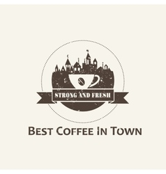 Coffee cup with town background label vector image