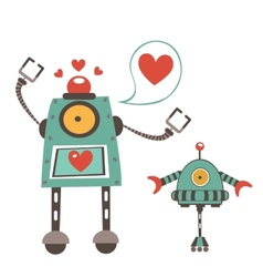 Cute robots in love couple vector image