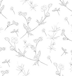 Hand-drawn flower seamless pattern vector image vector image