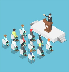 Isometric businessman speaking at a podium vector image