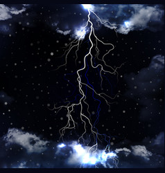lightning and snowfall with dramatic clouds vector image