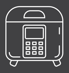 Multicooker line icon kitchen and appliance vector