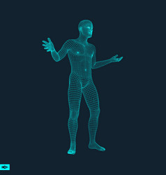 3d model of man polygonal design vector