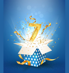 7 th years anniversary and open gift box with vector image