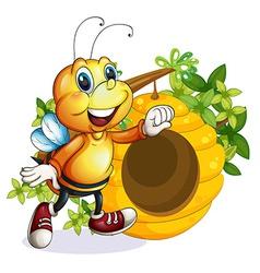 a bee near beehive vector image