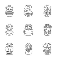 african culture icons set outline style vector image