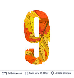 Autumn fall bright orange leaves number vector