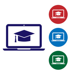 Blue graduation cap on screen laptop icon isolated vector