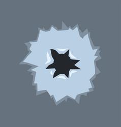 Bullet hole with cracks bullet mark on glass vector