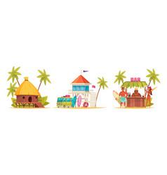 cartoon hawaii icon set vector image
