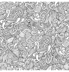 Cartoon mexican food doodles seamless pattern vector image