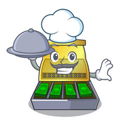 chef with food cash register with lcd display vector image