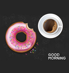 coffee cup and donut realistic product vector image