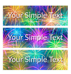 Color tags with fireworks set vector