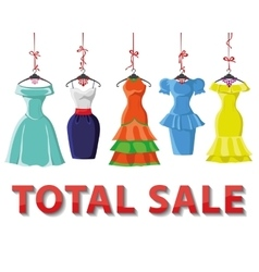 Colored summer dresses setTotal Sale vector image