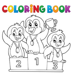 coloring book penguin winners theme 1 vector image