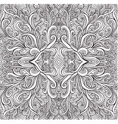 coloring page psychedelic mandala waves ornament vector image