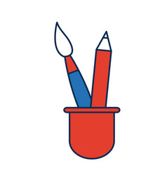 Cup with writing utensils pen pencil in flat vector