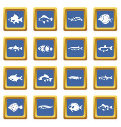 cute fish icons set blue vector image