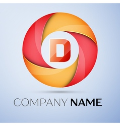 D letter colorful logo in the circle template for vector