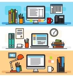 Designer workspace flat design concept vector
