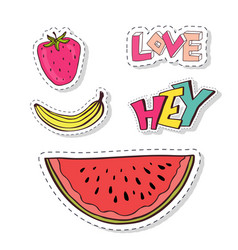 doodle badges patches elements with fruots and vector image