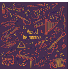 doodle musical instruments in neon color vector image