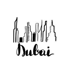 dubai landscape line art vector image