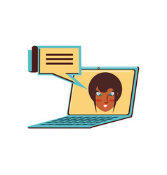 face of woman in laptop computer with speech vector image