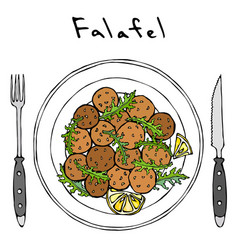 Falafel arugula herb leaves lemon on plate fork vector