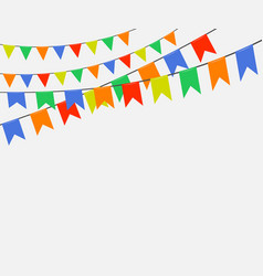 festive colorful bright flags garlands of bunting vector image