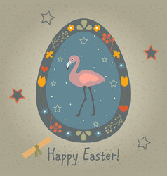 Festive easter egg with cute flamingo bird from vector