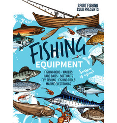 fishing equipment banner with fish rod and boat vector image